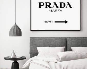 Prada Marfa, Prada Marfa Print, Fashion Print, Prada Marfa Printable, Fashion Typography, Black and White Typography, Prada Marfa Sign