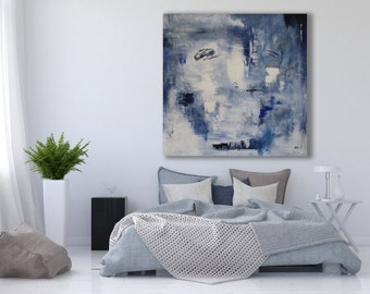 XL Textured Abstract Painting / Abstract Art / Contemporary Art / Modern Art / Texture Painting / Large Blue and Grey Painting /