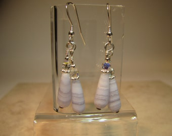 Blue Lace Agate, Sterling Silver, and Swarovski Crystal earrings