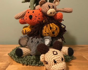 Crochet stacking jungle game