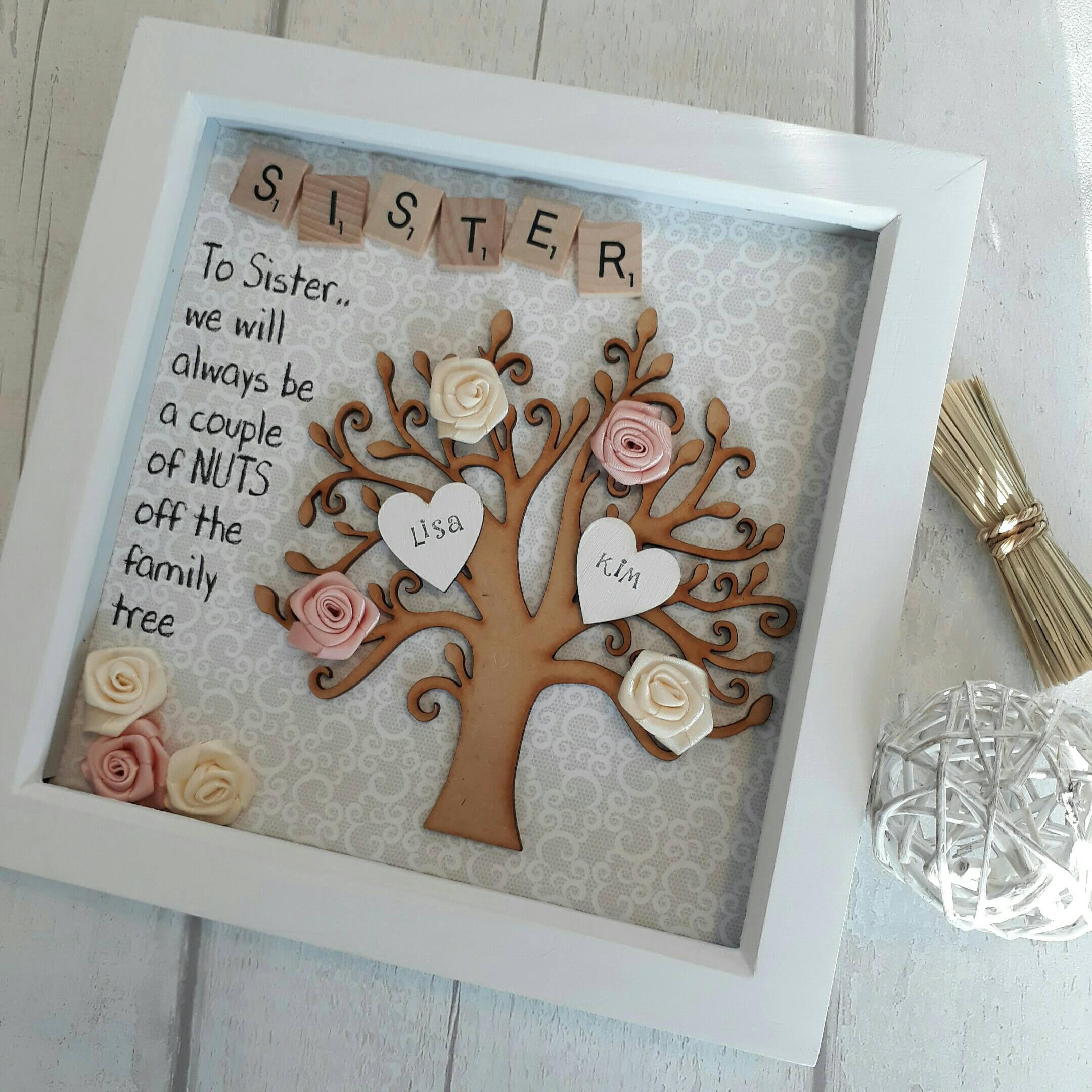 Gift for sister gift for family family tree frame for Regalos para hermanas