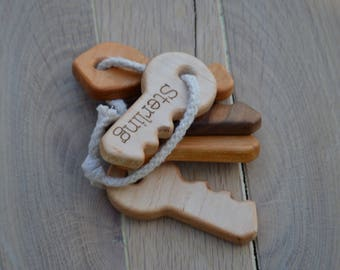 Personalized Wooden Toy Keys  - organic, safe and natural - Wood Keys