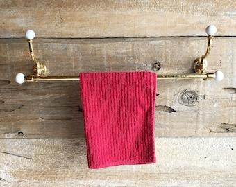 Brass towel bar with ceramic knobs. Brass towel holder / rack.