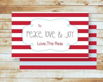 Personalized Holiday Gift Tags / Peace Love & Joy