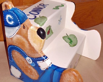 Custom Step stool with Teddy Bear sides cut out, wooden, personalized kids furniture, kids room decor