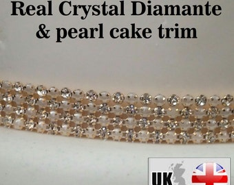 Clear rhinestone Diamante &  ivory pearl  gold claw setting ribbon banding for wedding cake decoration 1 yard