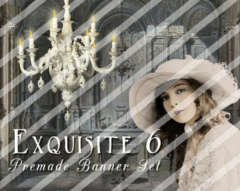 "Banner Set - Shop banner set - Premade Banner Set - Graphic Banners - Facebook Cover - Avatars - Bisiness Card - "" Exquisite 6"""