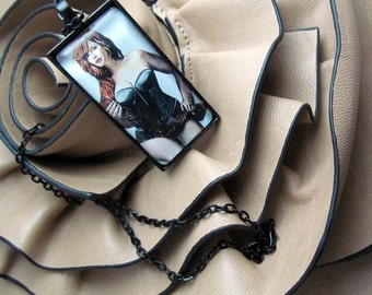Pendant Necklace - Curvy Beauties - Christina Hendricks - By Mixed Media Artist Malinda Prudhomme