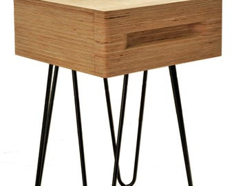 Mid Century Industrial Style Bedside Table or Side Table with Hairpin Legs