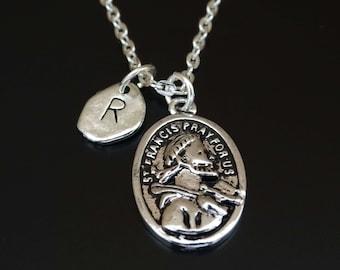 Saint Francis of Assisi Necklace, Saint Francis of Assisi Charm, Saint Francis Pendant, Saint Francis Jewelry, St Francis Necklace, Catholic