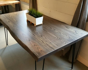 Custom Live Edge Grey Ash Dining Table