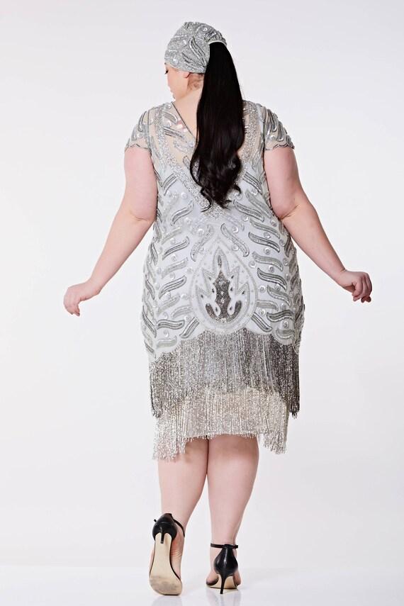 Vegas Grau Silber Plus Größe Flapper Kleid Slip enthalten