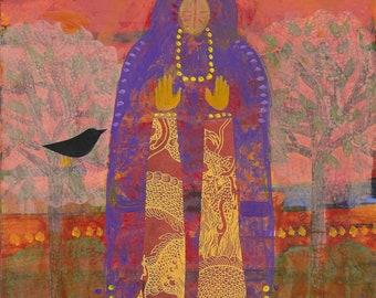 Feminine Divine, Priestess, Nature Spirit with Black Birds. Brings Peace and Harmony to a room. Print of original painting.