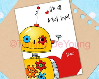 Robot Valentine card *Valentines for Kids* Printable DIY Valentine Card for classmates, boys and girls, personalization extra