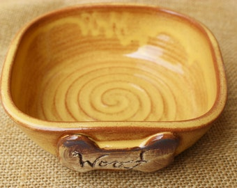 Yellow wheel thrown pottery dog food or water bowl, ready to ship