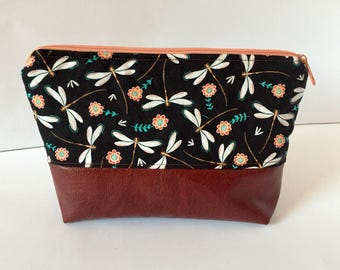 Cosmetic bag cosmetics bag make up bag faux leather Brown