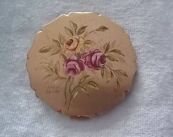 Vintage Stratton  Signed Pink  Flowers  Compact Gold  - GORGEOUS