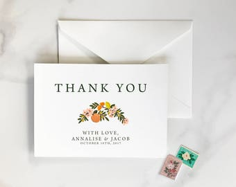 Citrus Thank You Cards, Orange Thank You Cards, Florida Thank You Cards, Orange Citrus Thank You, Orange Floral Thank You, Orange & Green