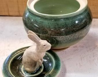 Ceramic Rabbit Sugar Bowl, Candy Dish, Covered Jar