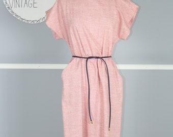 Vintage Red & Navy Secretary Dress w/ Front Pockets
