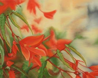Peinture florale réaliste au pastel sec, petite fleur rouge, feuille verte dentelée,lumineux, Tableau unique, oeuvre originale