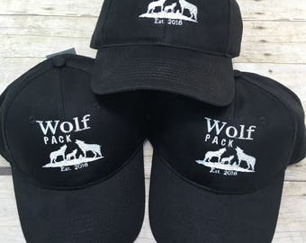 Baseball hat, wolf pack hat, hats for groups, bridal party hats, hats, embroidered hats,