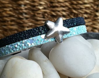 "Split cuff 10 mm cord strap bracelet leather ""glittered"" blue - woman/girl"