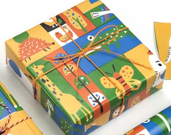 Zoo Wrapping Paper,Wedding Gift Wrap,Animal Wrapping Sheets,Holiday Gift Wrap
