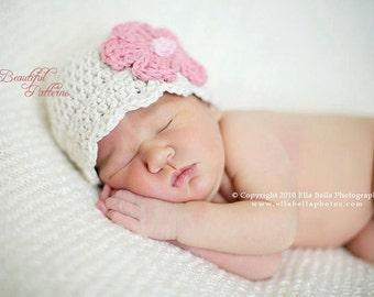 Crochet Hat Pattern Baby Daisy Flower Flapper Beanie PDF 120 Newborn to Adult  Photo Prop Instant Download