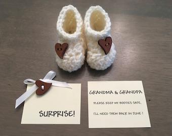 Pregnancy Announcement to Grandparents, Pregnancy Reveal Grandparents, Grandparent Announcement,  Pregnancy Bootie announcement