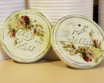 shabby cottage chic upcycled repurposed salvaged metal tin vintage Ball Kerr jelly jar lids ornaments hang tags apple green Victorian roses