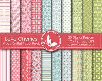 Love Cherries Mega Paper Pack - 20 Printable Digital papers - 12 x12 - 300 DPI