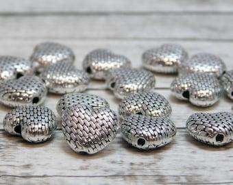 25pcs - 10mm - Heart Beads - Metal Beads - Silver Beads - Heart Spacer Bead - Metal Spacers - Metal Findings - (1897)