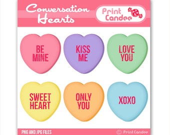 70% OFF SALE! - Valentines Conversation Hearts -  Digital Clip Art - Personal and Commercial Use - valentines day candy hearts