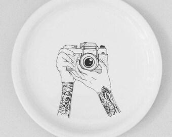 Handpainted Plate, Drawing, Camera lovers
