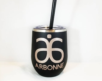 Arbonne 12oz Stainless Steel Wine Tumbler With Lid And Straw, Boss Babe, Team Gift