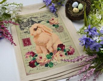 Flour Sack Kitchen Towel, French Bunny Towel,  Feed Sack Towel, Spring Dish Towel,  Kitchen Towel, Dish Towel, White Bunny Rabbit Dish Towel
