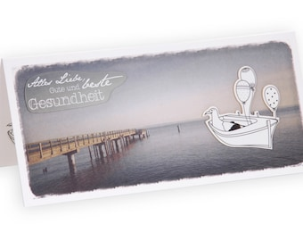 Card birthday, maritime greeting card, card, card maritim, map gull, birthday card, boot, wide 3D map, uncoated paper
