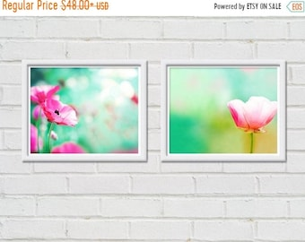 ON SALE flower photography floral botanical print set of 2 8x10 nature photography fine art pink pastel poppy photos botanical photography m