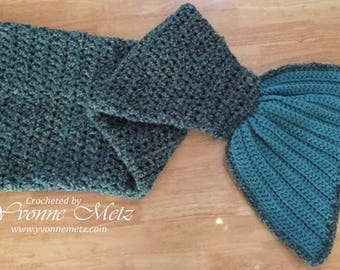 Crocheted Mermaid Tail Blanket - Pre-K, Child, Teen/Adult Sizes, Cozy Wrap, Cocoon Blanket, Made to Order