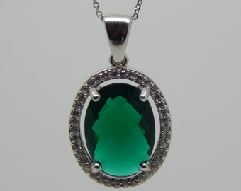 zirconia emerald pendent  , emerald pendent , sterling silver , bridesmaid green pendent  , green cz pendent  , green oval pendent
