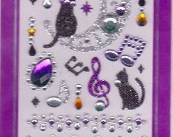 Cat Stickers - Music Stickers - Assortment Jewel Rhinestone Seals - Mind Wave Stickers - Reference F301