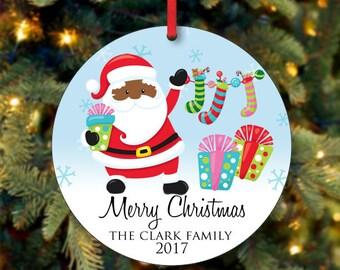 Schwarze Santa Weihnachten Ornament, personalisierte Christbaumschmuck, benutzerdefinierte Ornament, Familie Ornament, 2017 Christbaumschmuck (0002)