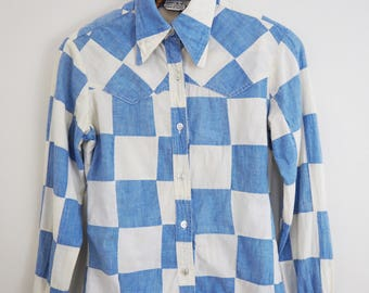"1970s Vintage Indian Cotton Blue and White Checkered Patchwork Shirt / Button Down Boho Bohemian Festival Made in India / Size XS S 32"" Bust"