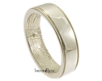 Wide Milgrain Edge Fingerprint Wedding Band with Interior Wrapped Print - Sterling Silver