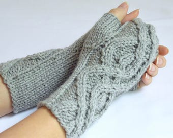 Fingerless Gloves Cable Knit Merino Wool, Gray Wrist Warmer Texting Gloves, Wool Knit Hand Warmers