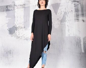 Woman black tunic, black long tunic, black top, casual top, long sleeves top, tank top, asymmetric top, long top, UrbanMood - UM-211-VL