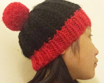 Knit Chunky Pompom Hat - Red and Black