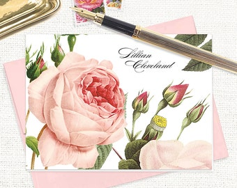 personalized stationery set - LIGHT PINK ROSE - set of 8 folded note cards - flower stationary - botanical - floral
