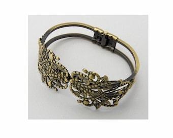Bracelet blank Antique Bronze filigree bracelet Hinged Bracelet cuff bracelet adjustable bracelet vintage style  jewelry findings  402x